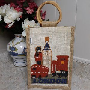 London Earthbag Tote With Wooden Handles NWOT